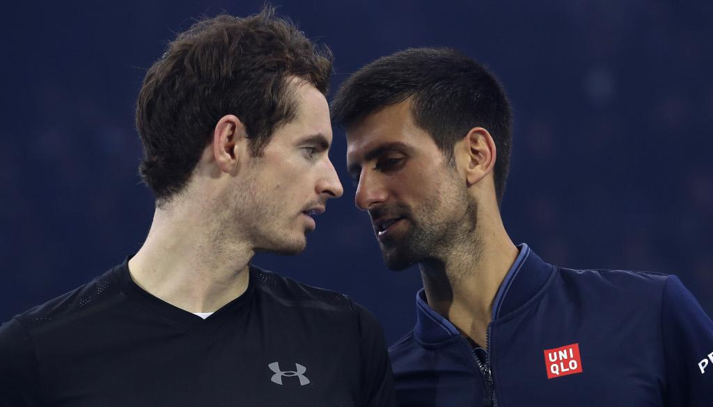 Andy Muray and Novak Djokovic talking