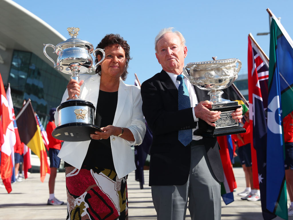 Evonne-Goolagong-Cawley-and-Rod-Laver-with-the-Australian-Open-trophies