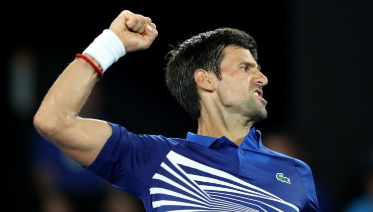 Novak Djokovic celebrates