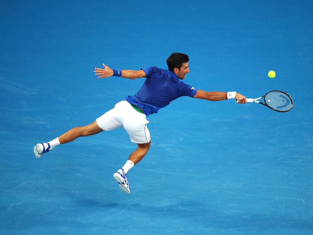 Novak Djokovic airborne