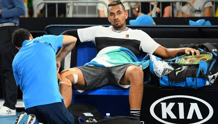 Nick Kyrgios receiving treatment