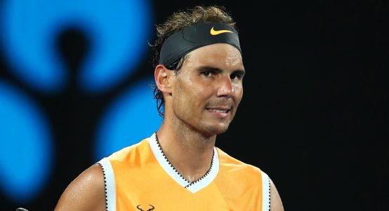 Rafael Nadal celebrates at AO