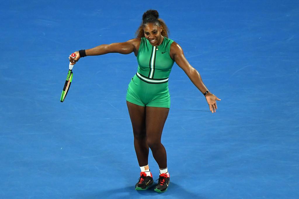 Serena Williams curtsies