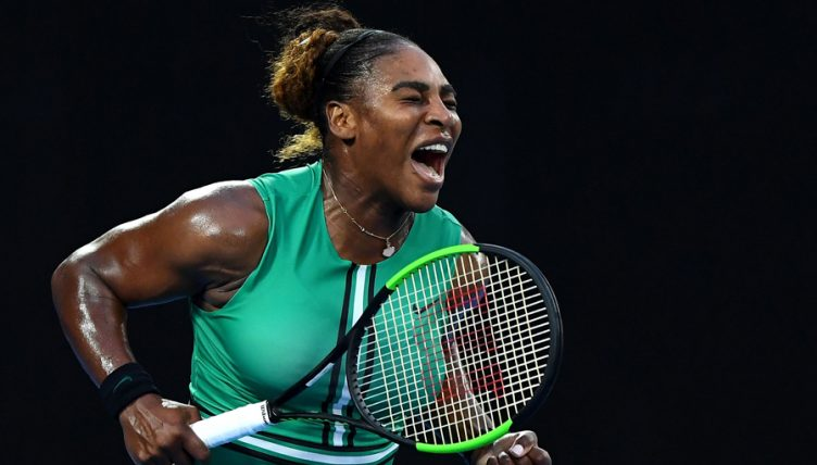 Serena Williams reacts to Australian Open win