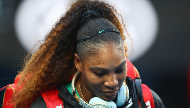 Serena Williams head down
