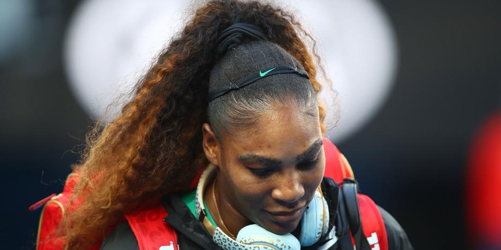 Serena Williams head down