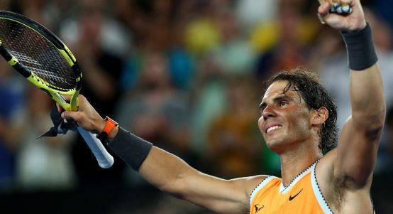 Rafael Nadal celebrates at Australian Open
