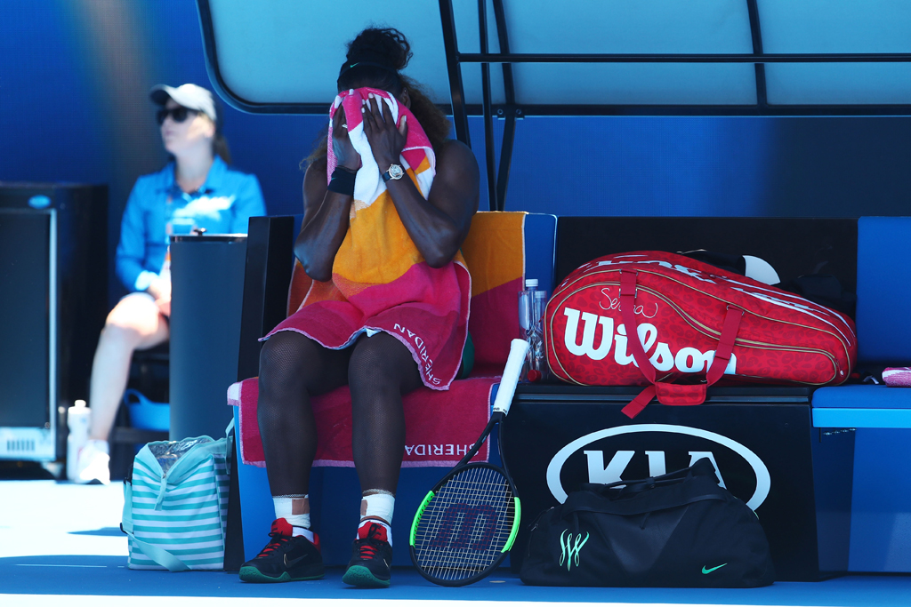 Serena Williams dejected