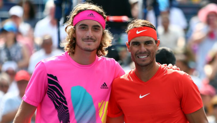 Stefanos Tsitsipas and Rafael Nadal in action