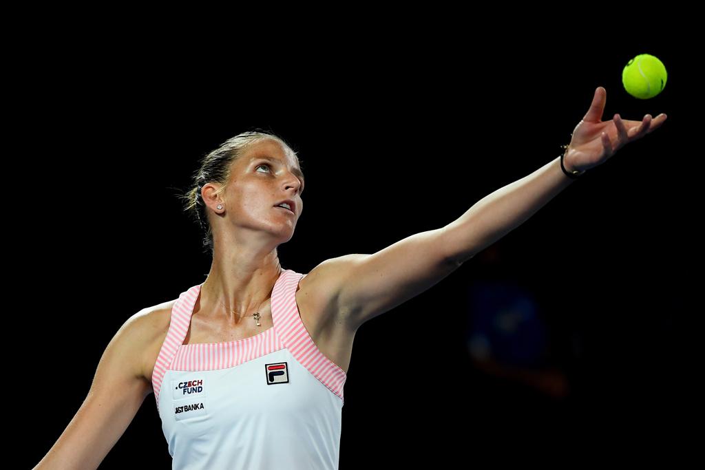Karolina Pliskova serving at Australian Open