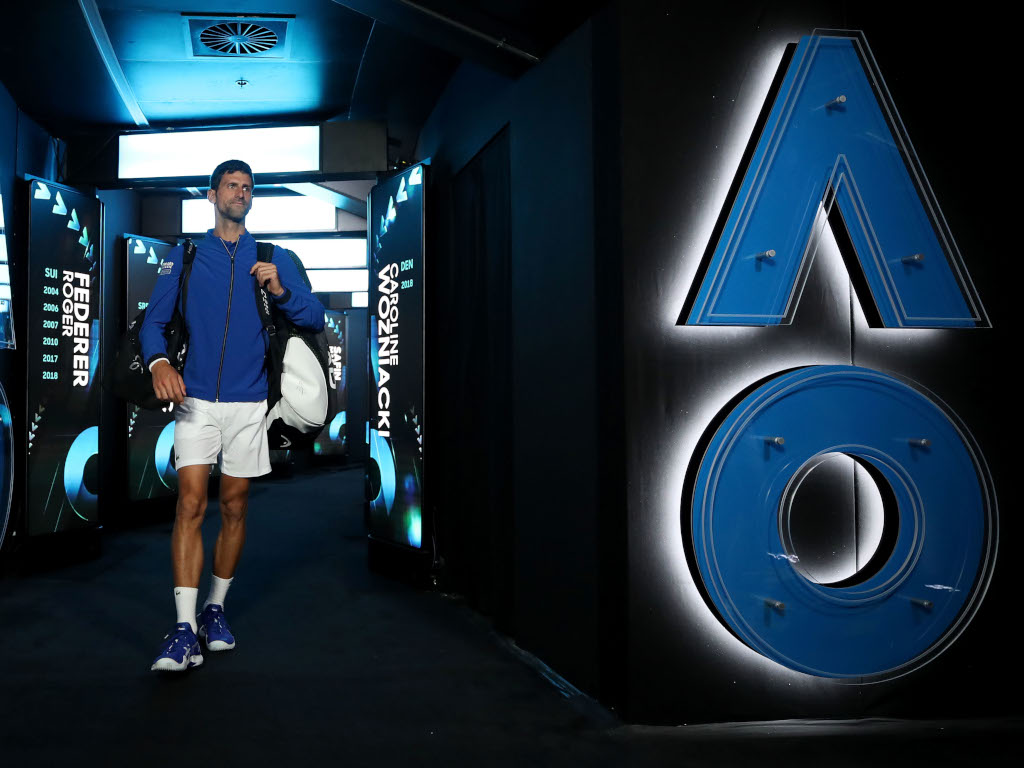 Novak Djokovic arrives for Australian Open final
