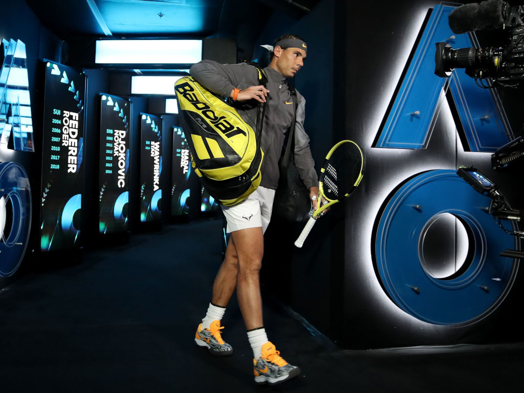 Rafael Nadal arrives on court for Australian Open final