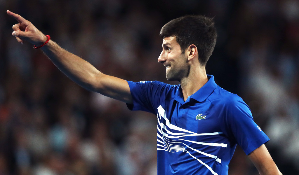 Novak Djokovic pointing