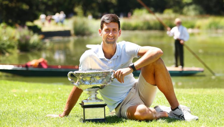 Novak Djokovic with Australian Open trophy