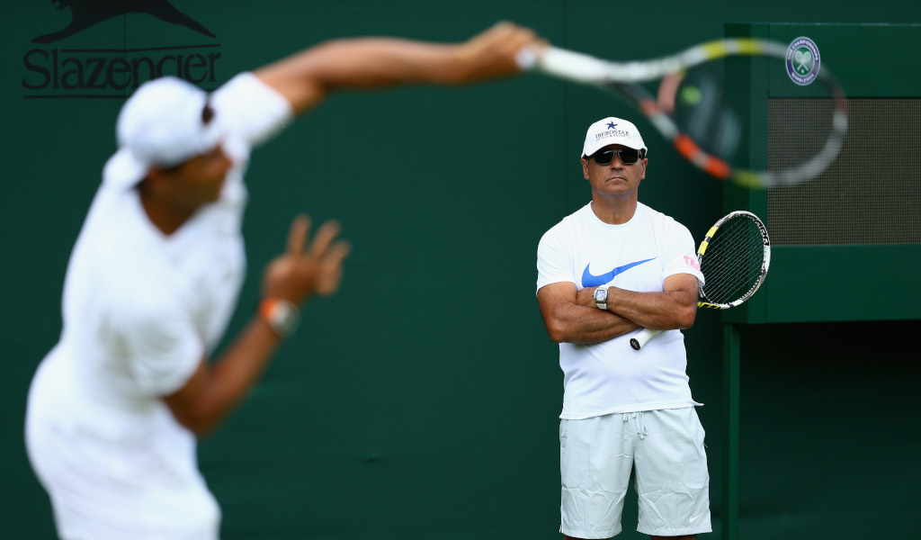 Rafael Nadal and Toni Nadal coaching