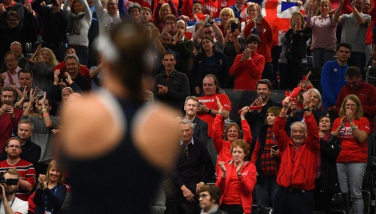 Johanna Konta Great Britain Fed Cup celebrations