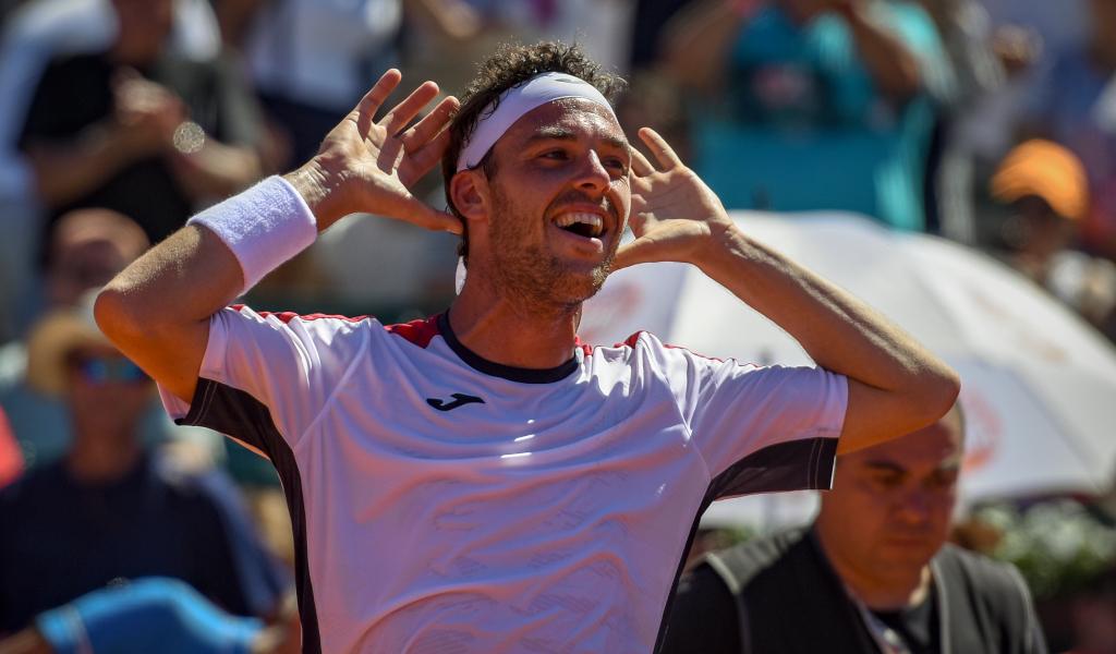 Marco Cecchinato celebrates