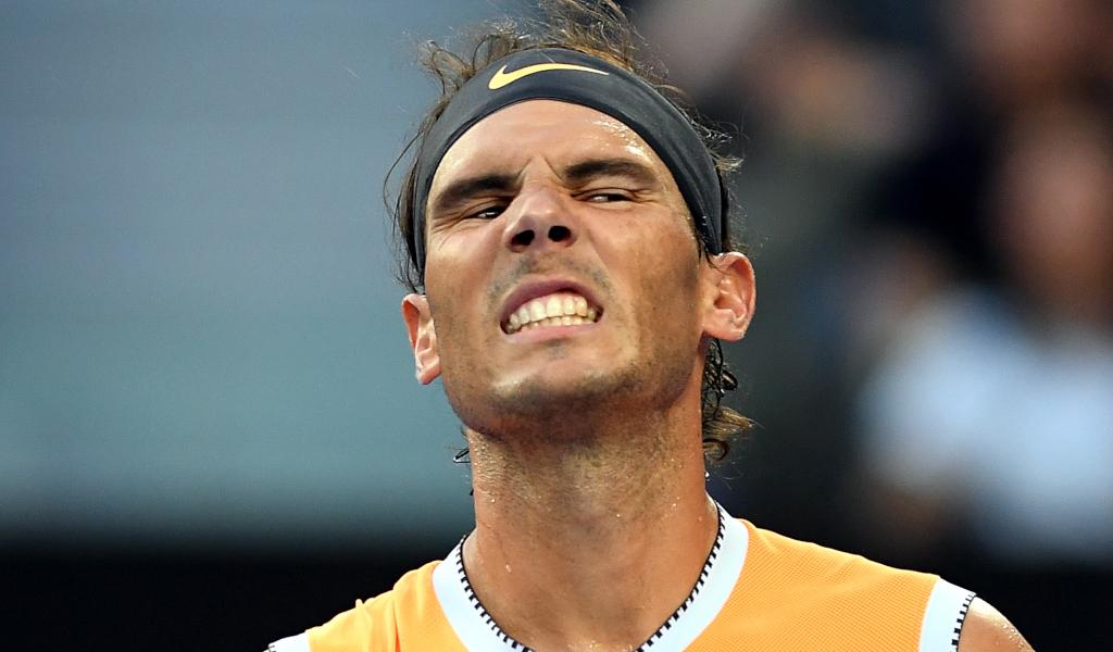 Rafael Nadal looking serious