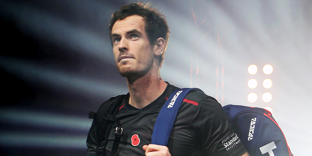 Andy Murray making an entrance