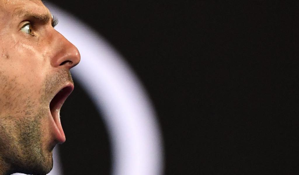 Novak Djokovic screaming