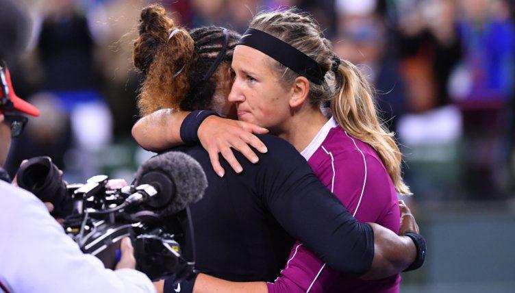 Serena Williams and Victoria Azarenka hugging