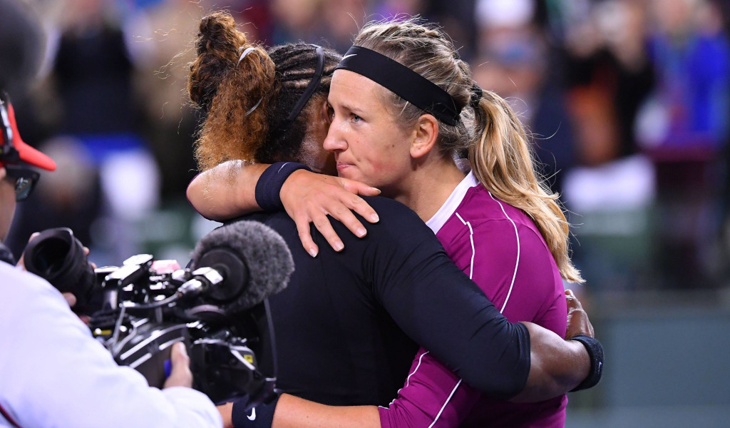 Serena Williams and Victoria Azarenka hugging