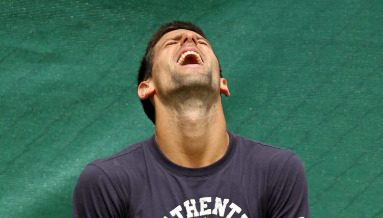 Novak Djokovic fooling around