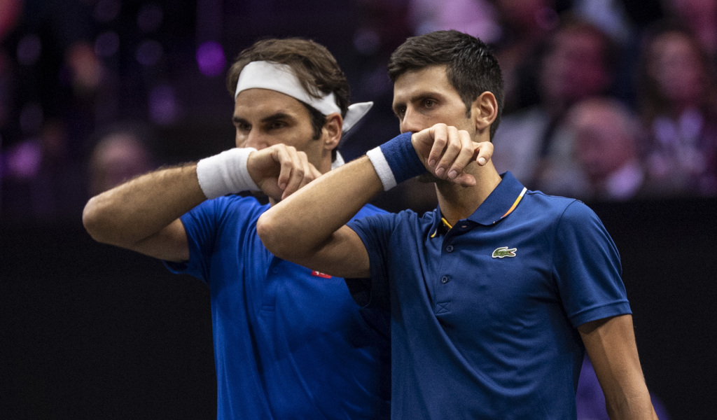 Roger Federer and Novak Djokovic doubles