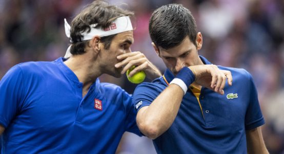 Roger Federer and Novak Djokovic doubles