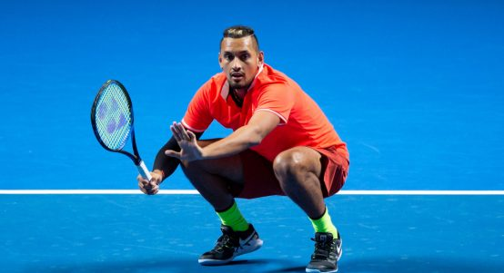 Nick Kyrgios on his haunches