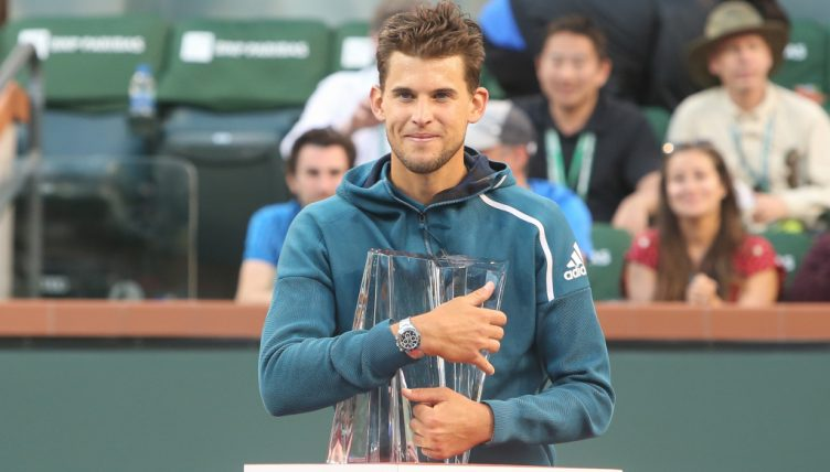 Dominic Thiem with Indian Wells Masters trophy