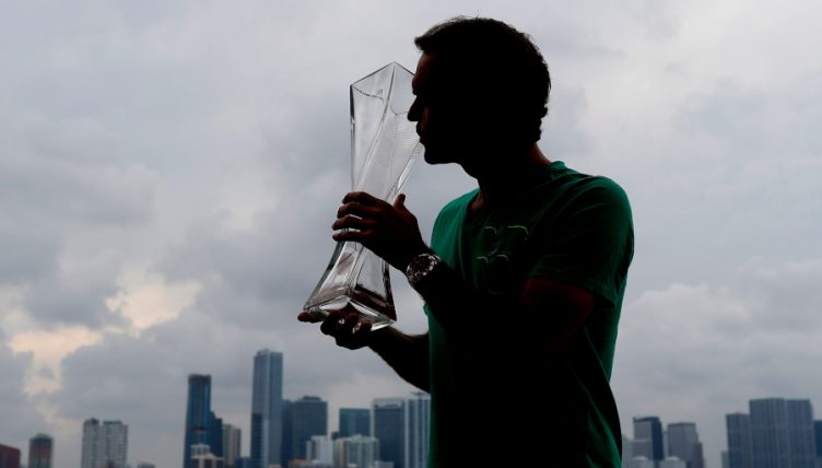 Roger Federer with Miami Open trophy