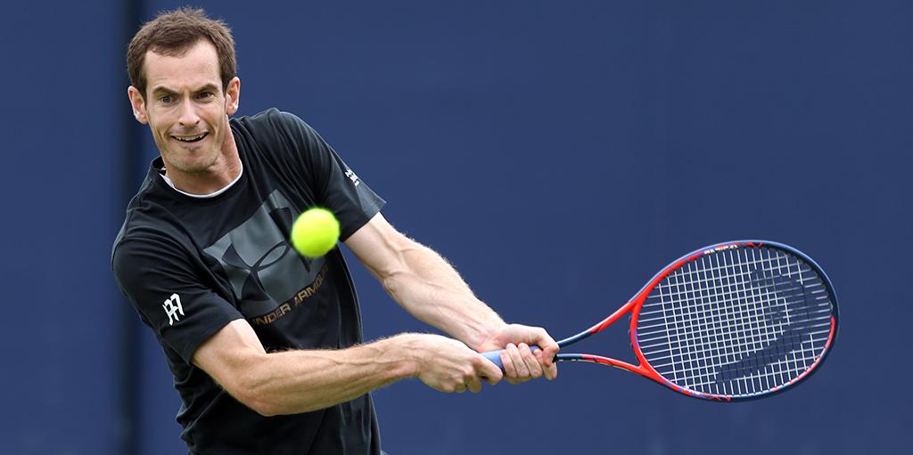 Andy Murray hitting balls PA