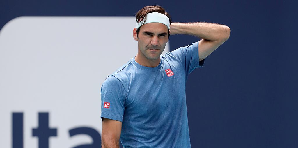 Roger Federer in practice PA