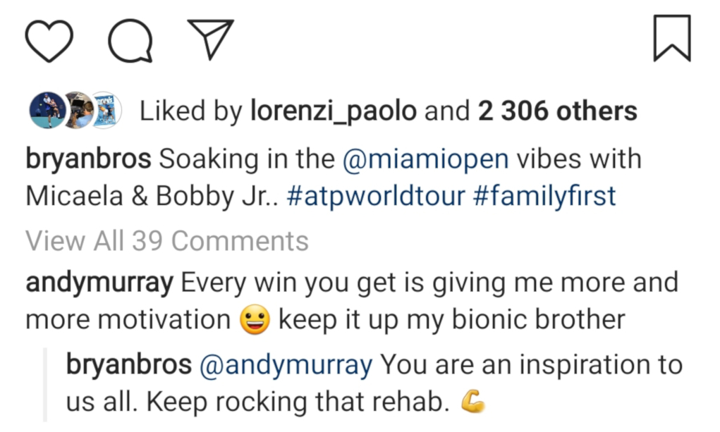Bob Bryan and Andy Murray Instagram