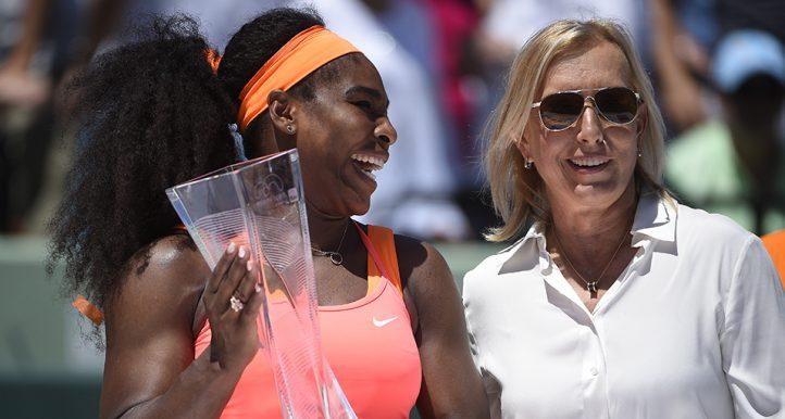 Serena Williams and Martina Navratilova at 2015 Miami Open PA