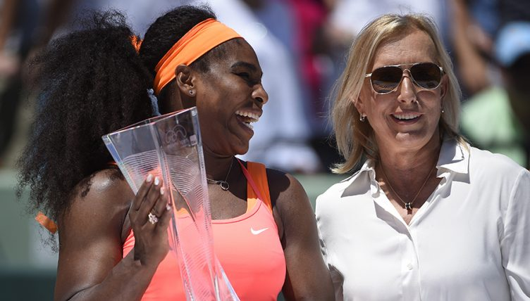 Serena Williams and Martina Navratilova at 2015 Miami Open PA