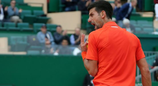 Novak Djokovic shouting