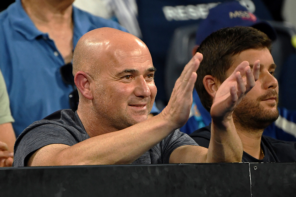 Andre Agassi watching Grigor Dimitrov PA