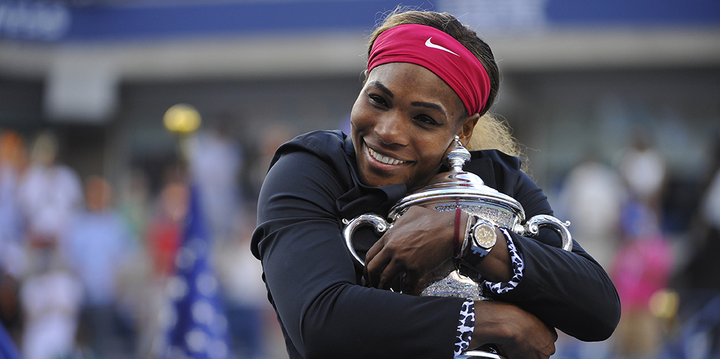 Serena Williams with US Open trophy PA