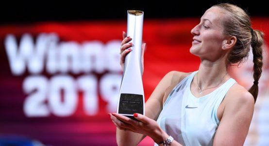 Petra Kvitova with Porsche Tennis Grand Prix trophy