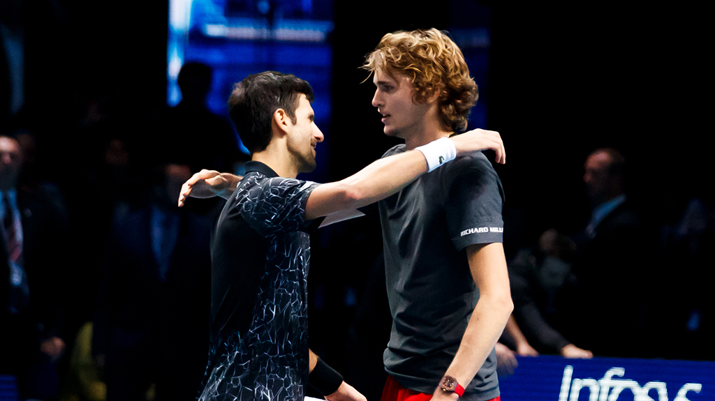 Alexander Zverev and Novak Djokovic PA