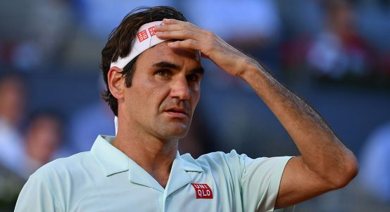 Roger Federer looks on at the Madrid Open PA