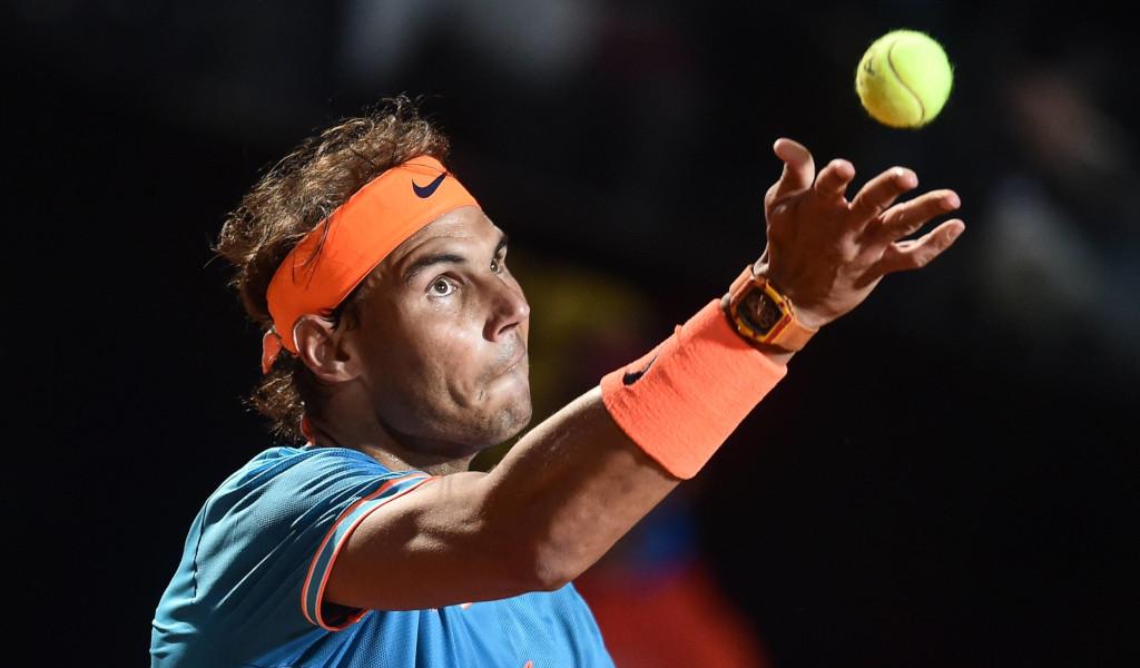 Rafael Nadal serving