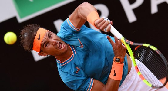 Rafael Nadal serving at Italian Open PA