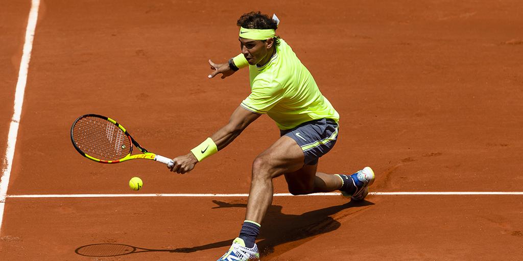 Rafael Nadal sliding at Roland Garros