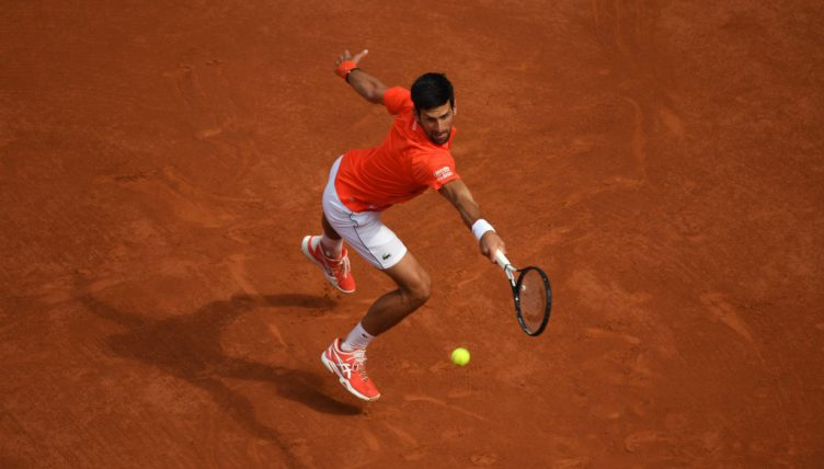 Novak Djokovic on the charge