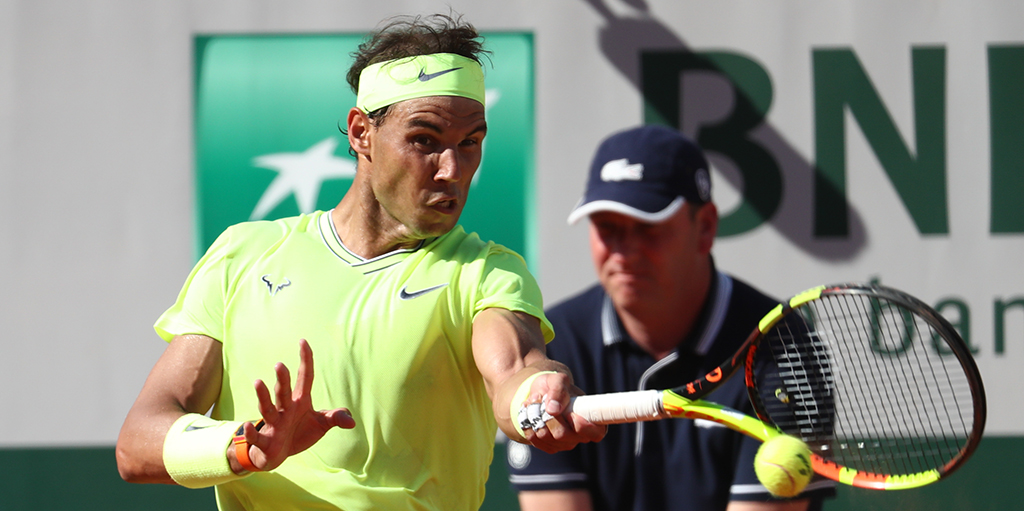Rafael Nadal forehand at French Open PA