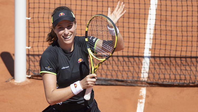 Johanna Konta celebrates at the French Open PA