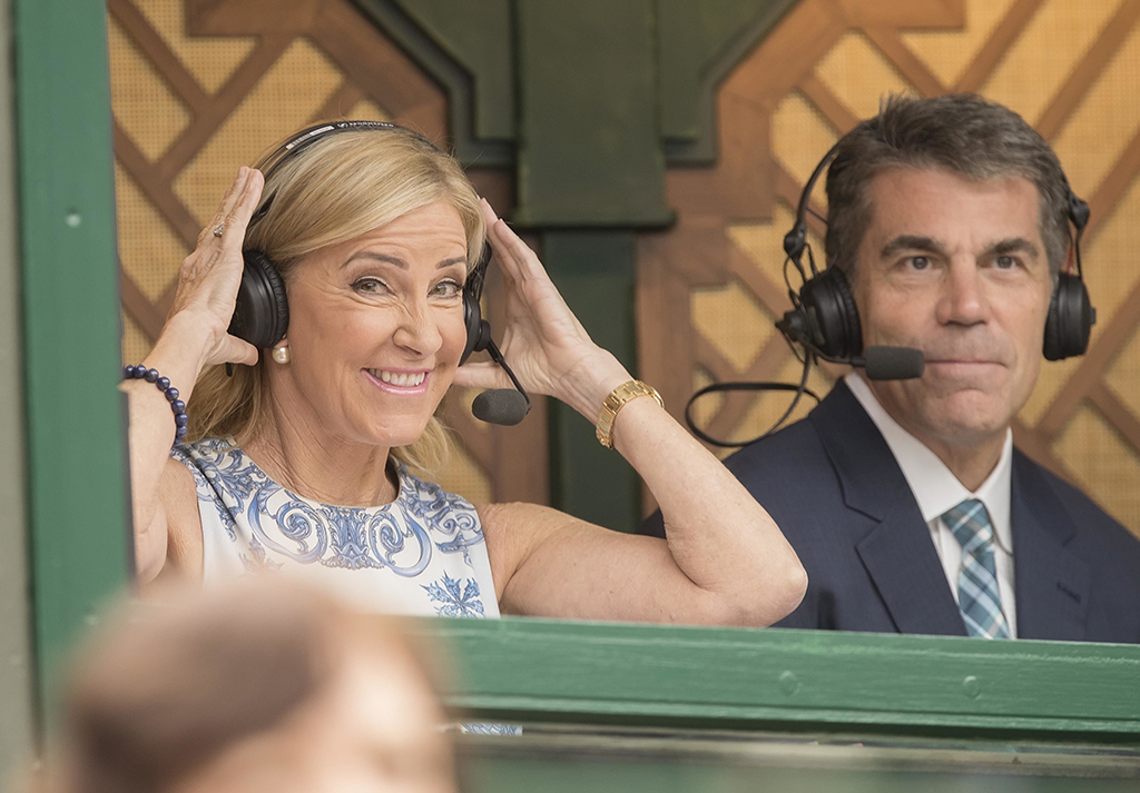 Chris Evert in commentary box PA